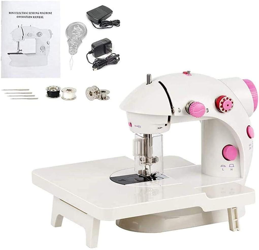 LDLL Mini máquina de Coser, portátil de Alta Velocidad Baja Básica Eléctrica Máquina de Coser con la lámpara de Mesa y Extensión para el Principiante