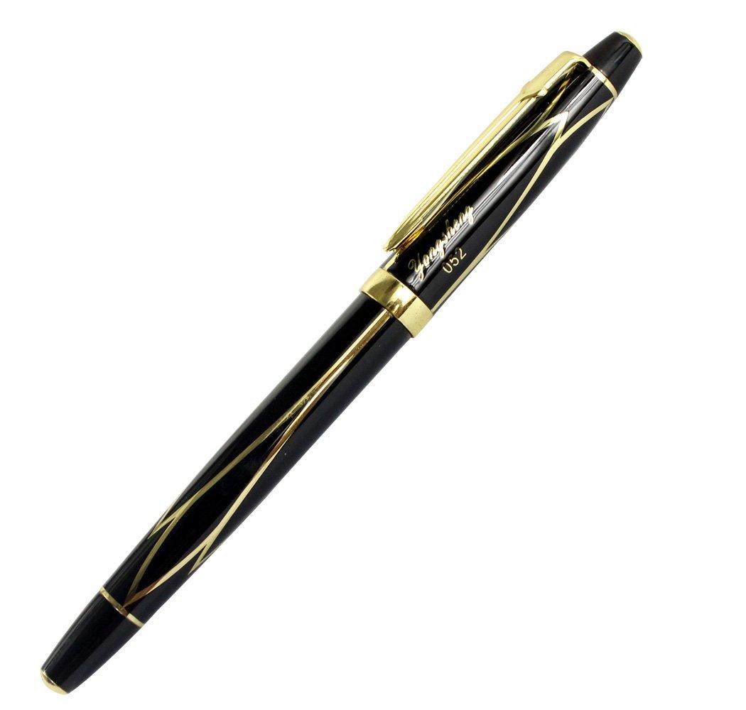 Avanzata stilografica WingSung piccolo pennino nero e dorato