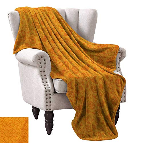 Anyangeight Throw Blanket,Monochrome Design with Traditional Halloween Themed Various Objects Pumpkin Bat Print 80