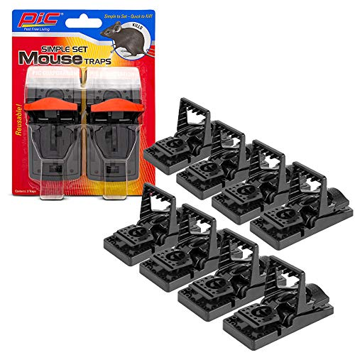 PIC Simple Set Mouse Trap (8-Pack), Reusable Plastic Mouse Traps, Effective Small Mouse Traps, Pesticide-free Mouse Snap Trap, Easy-to-Use Small Mice Traps, Effective House Mice Traps Indoor & Outdoor (Snap E Traps)