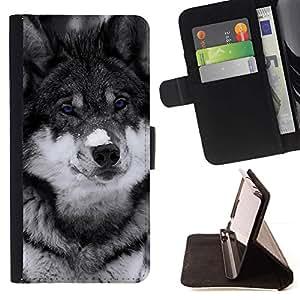 Momo Phone Case / Flip Funda de Cuero Case Cover - Lindo observado azul del lobo;;;;;;;; - HTC DESIRE 816