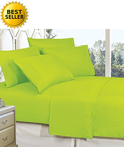 Celine Linen Best, Softest, Coziest Bed Sheets Ever! 1800 Thread Count Egyptian Quality Wrinkle-Resistant 4-Piece Sheet Set with Deep Pockets 100% HypoAllergenic, Full (Lime Green Sheets)