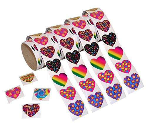 (Kicko Funky Heart Stickers Roll, 400 Assorted Colors and Designs Heart Shaped Stickers, 4 Rolls, 1.5 Inches, for kids.)