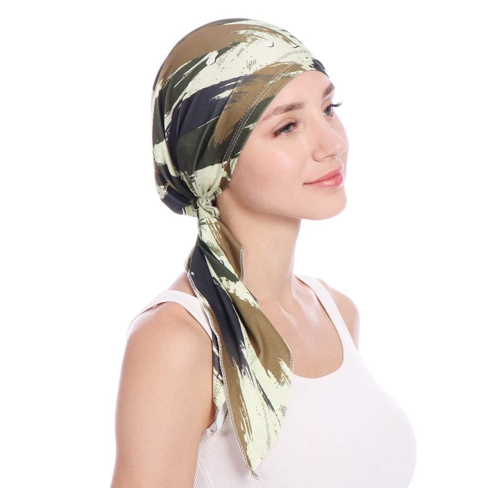 WFZ17 Bella Scarf Floral Chemo Hat Turban Head Scarves Pre-Tied Headwear Bandana Tichel for Cancer