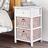 Giantex Wooden Nightstand 3 Tiers W/ 2 Baskets
