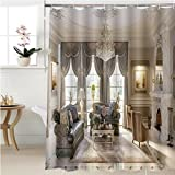 Gzhihine Shower curtain luxurious baroque living room in large classic style house with large marble fireplace marble Bathroom Accessories 60 x 72 inches