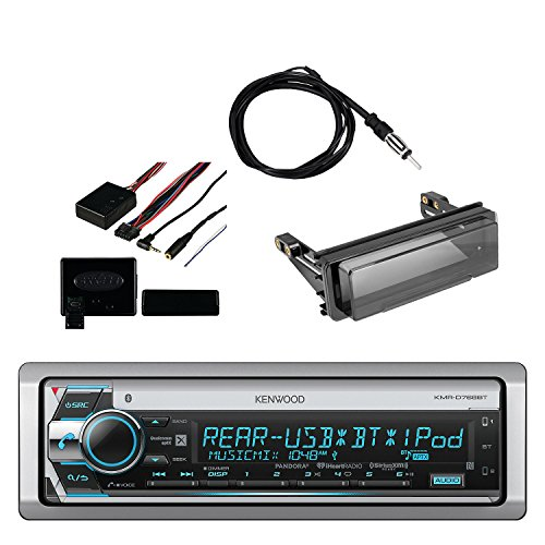 Kenwood Marine CD Receiver with Built in Bluetooth, Metra Axxess Universal Steering Wheel Control, Metra Radio Cover Kit for Harley-Davidson Touring Motorcycle and Enrock Marine Antenna
