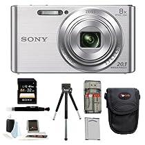 Sony DSCW830 DSCW830 W830 20.1 Digital Camera with 2.7-Inch LCD (Silver) + Standard Large Digital Camera Case + Sony 32GB SDHC/SDXC Memory Card + Accessory Kit