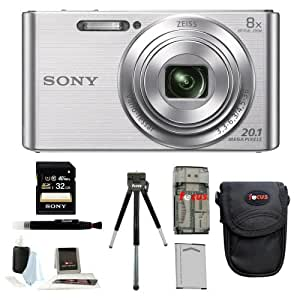 Sony DSCW830 DSCW830 W830 20.1 Digital Camera with 2.7-Inch LCD (Silver) + Standard Large Digital Camera Case + Sony 32GB SDHC/SDXC Memory Card + Accessory Kit