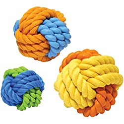 """Tough Twist 2.5"""" Rubber & Rope Ball Dog Toy"""