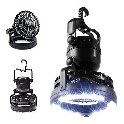 Portable LED Camping Lantern with Ceiling Fan, Outdoor Camping Lantern 2 In 1 Combo 18 Super Bright LED Light and Fan