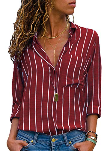 Dokotoo Womens Plus Size Basic Autumn Fall Striped V Neck Casual Roll Long Sleeve Button Up Shirt Tops and Blouses...