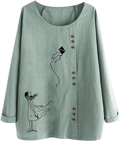 Vectry Camisa Mujer Tallas Grandes Mujer Manga Larga Algodón Lino O-Cuello Botton Blusa Top Camiseta Camisa Otoño Verano Playa Y Fiesta: Amazon.es: Ropa y accesorios