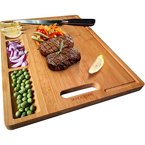 Large Organic Bamboo Cutting Board For Kitchen