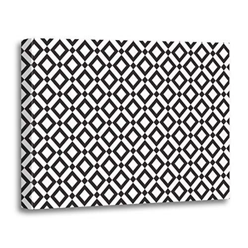 (Tinmun Painting Canvas Artwork Wooden Frame Abstract Lattice Trellis Pattern Black Checked Diamond Elegant Geometric 16x20 inches Decorative Home Wall Art )