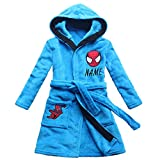 2017 New Spider Pattern Boys Cartoon Children Lengthened Bathrobe Robe Gown Home (6, Embroidery Name)