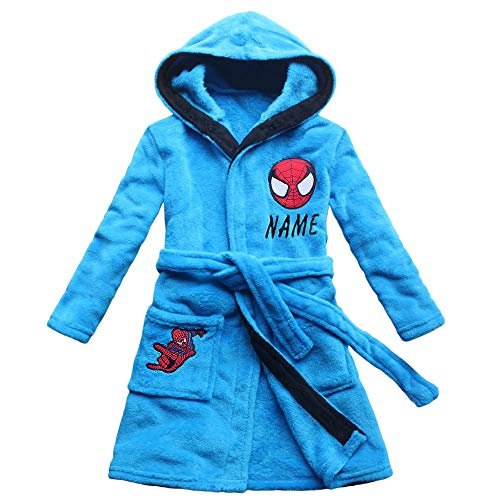 (2017 New Spider Pattern Boys Cartoon Children Lengthened Bathrobe Robe Gown Home (10, Embroidery Name))