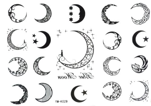Moon Temporary Tattoo (Halloween Christmas Moon 19style Totem Star Temporary)
