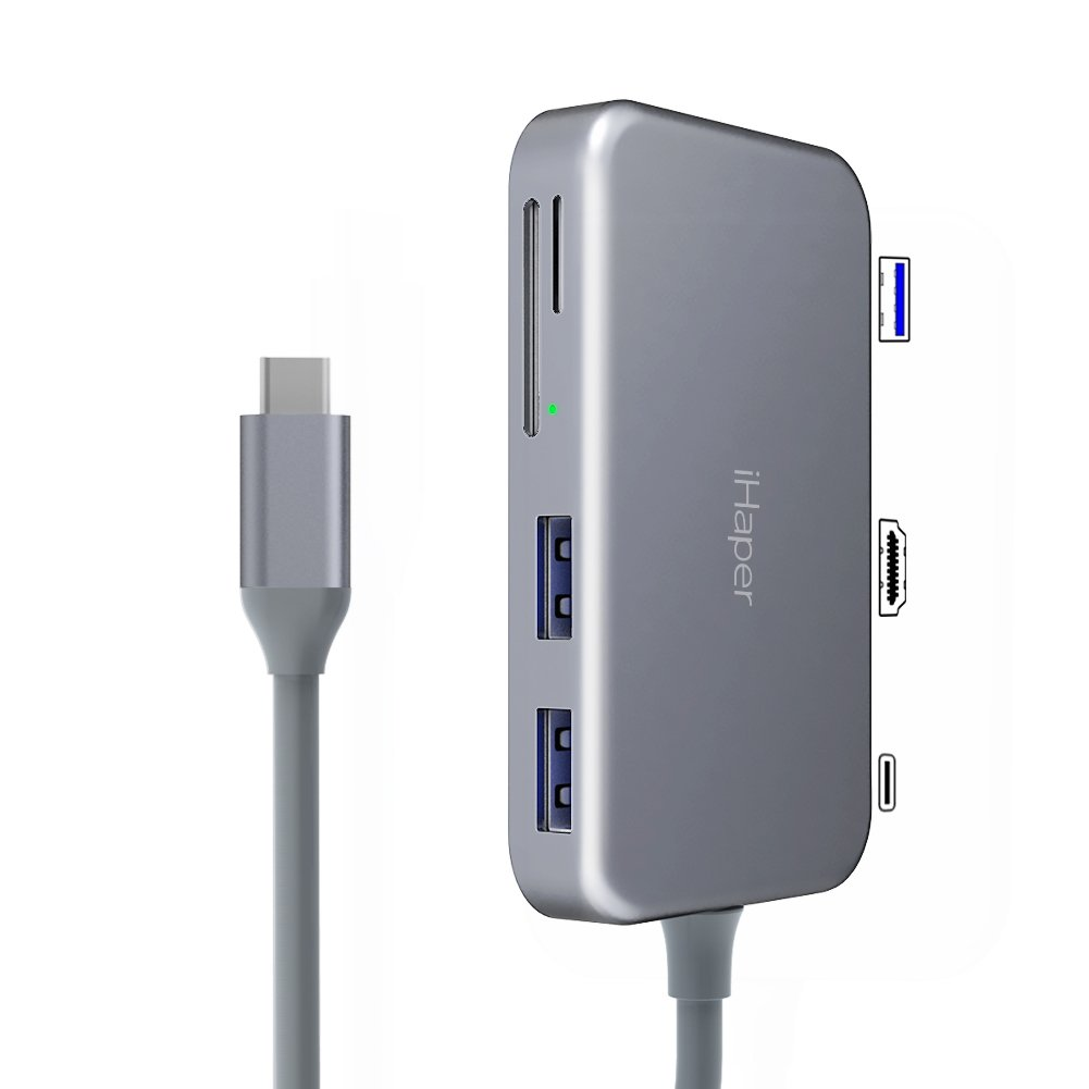 USB C Hub, iHaper USB Type C Hub 7-in-1 with Type-C Power Dellvery, 3 Ports USB 3.0, 4K HDMI Port, SD/Micro SD Card Readers for MacBook/MacBook Pro/Google Chromebook Pixel and More, Space Gray