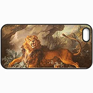 Personalized Protective Hardshell Back Hardcover For iPhone 5/5S, Lion Design In Black Case Color