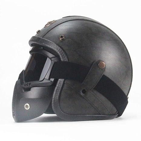 CARACHOME Knight Casco Moto con Gafas Desmontables, Casco ...