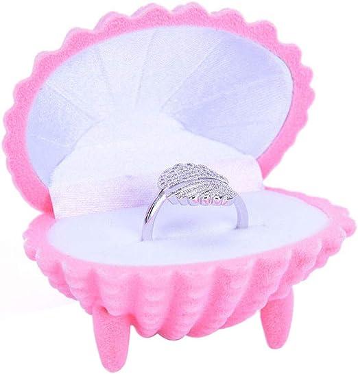 Pink Ring Stud Earrings Luxury Velvet Gift Box Shell Jewelry Case Storage