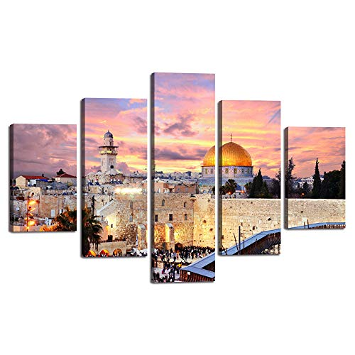 Extra Large Islamic Religion Canvas Painting Jerusalem Wall Art Mecca Modern Muslim Split Artwork 5 Panel Prints Giclee for Living Room Home Decor Wooden Framed Stretched Ready to Hang(60''Wx40''H) ()