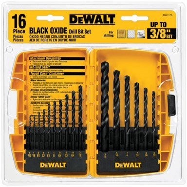 16-Piece Black Oxide Drill Bit Set