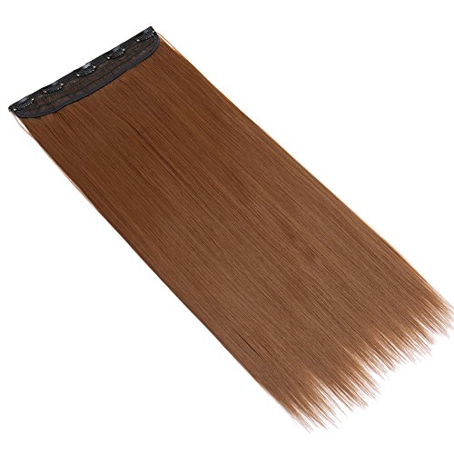 13colors Synthetic Fiber Clips in on Hair Extension 3/4 Full Head One Piece 5 Clips Long Straight Curly Wavy 140G Light Brown 23''