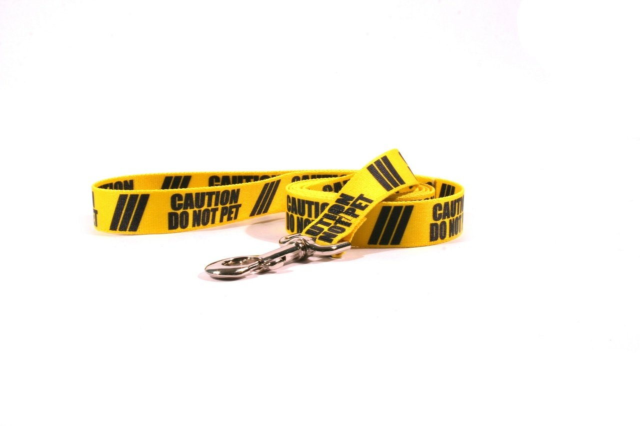 Yellow Dog Design Caution Do Not Pet Dog Leash with Standard Loop Handle, 1'' Wide