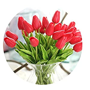 Miao Express 30PCS/LOT pu Mini Tulip Flower Real Touch Wedding Flower Artificial Flower Silk Flower Home Decoration Hotel Party,Red,5pcs 26