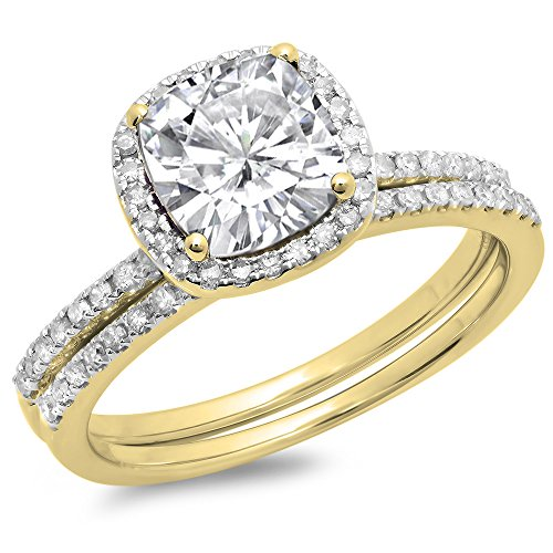 DazzlingRock Collection 18K Yellow Gold White Sapphire & White Diamond Bridal Halo Engagement Ring Set 1 3/4 CT (Size 6.5) ()