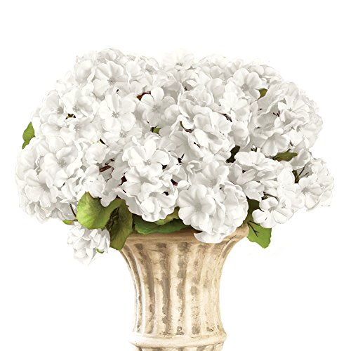 Artificial flowers for grave amazon collections etc geranium floral bush artificial maintenance free flower picks set of 3 white mightylinksfo