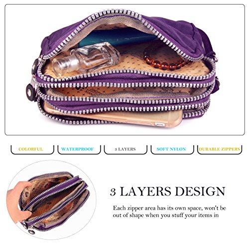 ABLE Planentasche Handgelenktasche, drei Schichten Tasche Reißverschluss, können Sie kleine Dinge wie ein Handy setzen, Lippenstift, Schlüssel, etc. Lila