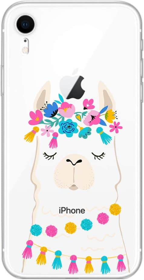 iPhone XR Case,Blingy's New Funny Animal Style Transparent Clear Soft TPU Protective Rubber Case Compatible for iPhone XR (Flower Llama)