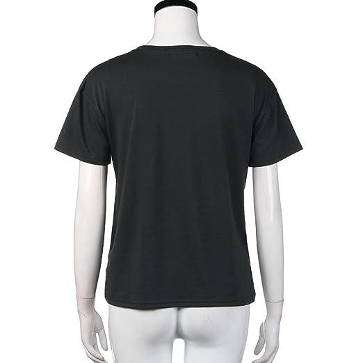 Tongshi Las Mujeres Impresión Jersey T-shirt Manga Corta Blusa Casual (M, Gris): Amazon.es: Ropa y accesorios
