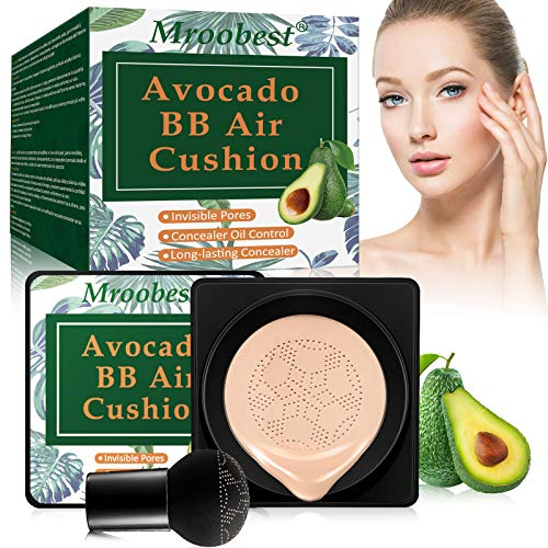 BB Air Cushion, Avocado BB Cream, CC Cream, All-Day Lasting Nude Makeup Foundation, with Mushroom Air Cushion, Even Skin Tone Makeup Base, Easy to Apply, Thin, Moist, for All Skin