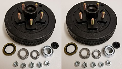2-Pk 10 in. x 2 Trailer Brake Hub Drum Kit w/Bearings Seal Cap Lugs (5 on 4.5)