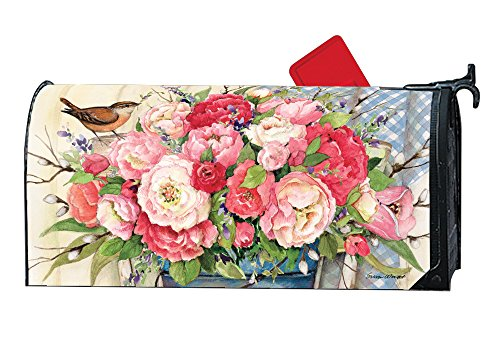 Bucket Full of Peonies LARGE MailWraps Magnetic Mailbox Cover #21662