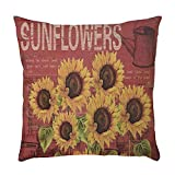 Gocheaper Sunflower Pattern Decorative Square Throw Pillow Covers Set Cushion Case for Sofa Bedroom Car 16 x 16 Inch 40 x 40 cm (B)