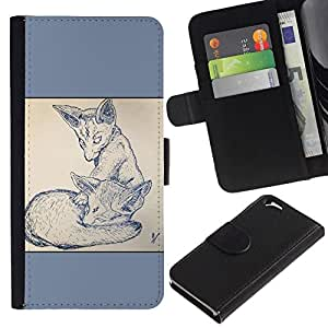 NEECELL GIFT forCITY // Billetera de cuero Caso Cubierta de protección Carcasa / Leather Wallet Case for Apple Iphone 6 // 2 Zorros