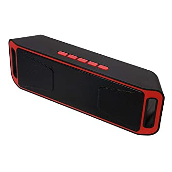 HAJZF Altavoz inalámbrico Bluetooth portátil 4,0 Caixa de SOM Altavoces estéreo subwoofer TF USB FM Radio Mic Dual Bass Sound Box,Red: Amazon.es: Deportes y ...