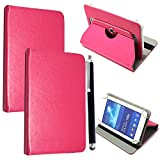 10inch Tablet Case Cover - Universal Leather Stand Case Folio Cover Magic Leather 360° Rotating Case Fits for ALL 10' Inch & 10.1' Inch Android Tablets tab + Stylus Pen (PINK CASE COVER)