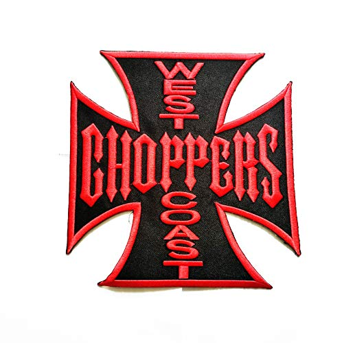 """7.4 """"X 7.7"""" Large Jumbo Size Patch Red Letters WEST Coast Choppers Patch Logo Jacket t-Shirt Jeans Polo Patch Iron on Embroidered Logo Motorcycle Rider Biker Patch by Tour les jours Shop"""