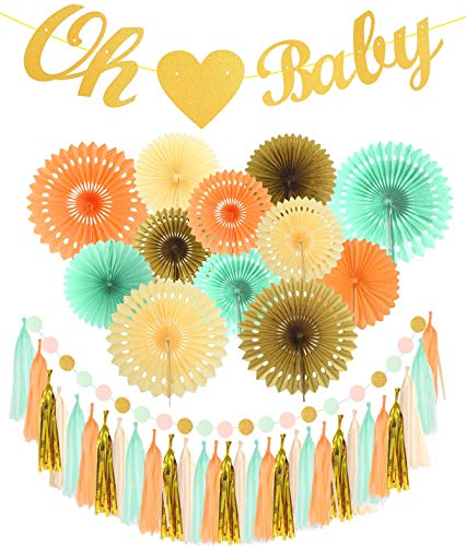 MEANT2TOBE OH Baby with Heart Banner for Baby Shower   Mint Gold Glitter Peach Cream Paper Fans for Baby Shower Party   Gender Reveal Party Decorations   Neutral Boy Girl Sprinkle -