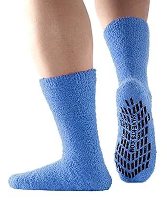 Best Large Fuzzy Socks Hospital Socks Non Skid / Anti Slip Grip Socks For Women - Blue (XL)