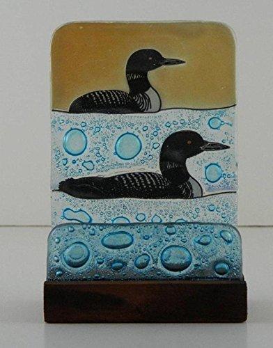 Loon Fused Art Glass Birds Business Card Holder Desktop Lodge Made Ecuador