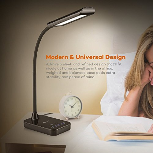 -[ TaoTronics LED Desk Lamp, Flexible Gooseneck Table Lamp 7W, 5 Color Temperatures with 7 Brightne