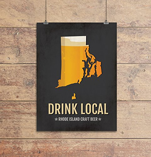 Rhode Island Beer Print Map - RI Drink Local Craft Beer Sign - Boyfriend Gift, Husband Gift, Beer Gift, Beer Art, Providence,Newport Poster
