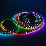 Mokungit 13.1FT 4M 60Pixels/m Programmable LED Strip Light WS2812B WS2811 Built-in 5050 RGB Individual Addressable Digital Dream Color Flex LED Strip 240LEDs DC5V (Black PCB Non-waterproof IP33)